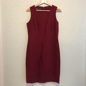 BURBERRY Vtg 80s burgundy linen shirt dress